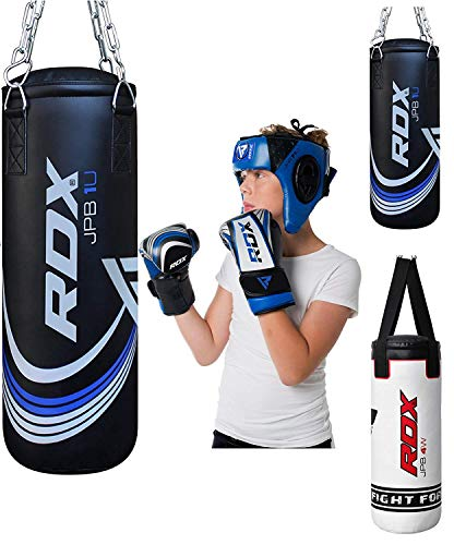 (RDX Kids Punching Bag Filled Set Junior Kick Boxing Heavy MMA Training Youth Gloves Punch Mitts Hanging Chain Ceiling Muay Thai Martial Arts 2FT)