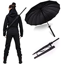 "38"" Inch tall Black Samurai Ninja Katana Umbrella Samurai Swords Umbrella Handle Creative Strong Windproof Semi-automatic Knife Umbrella Stylish Japanese Sun Rain Umbrella Decoration Gift B11781"