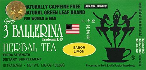 3 BALLERINA TEA DIETERS DRINK EXTRA STRENGH LEMON FLAVOR (3 boxes, 18 tea bags , 1.88 oz ?