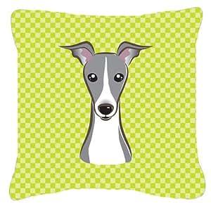 "Caroline's Treasures BB1298PW1818 Checkerboard Lime Green Italian Greyhound Pillow, 18"" x 18"", Multicolor"