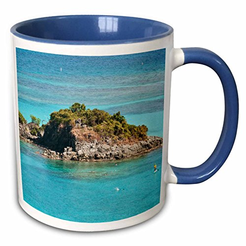 (3dRose Danita Delimont - Bays - USVI, St John, Popular Trunk Bay - CA37 TDR0019 - Trish Drury - 15oz Two-Tone Blue Mug (mug_134959_11))