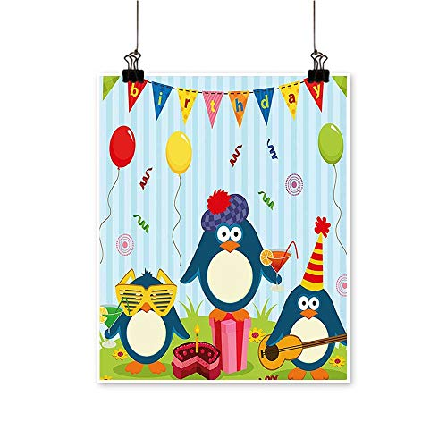 Modern Painting for Kids Cartoon Penguin Party with Flags Cakes and Box Light Blue and Bedroom Office Wall Art Home,24