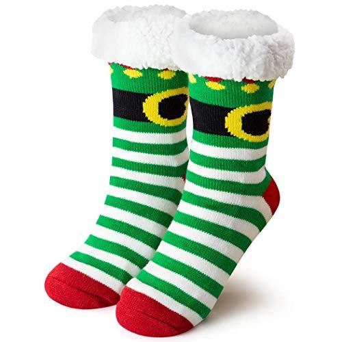 Christmas Elf Slipper Sock | Holiday Socks | Sherpa Fleece Lined | One Size Fits Most ()