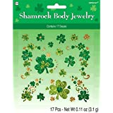 Lucky Irish Green St. Patrick's Day Glittered Shamrock Body Jewelry Party Accessory, Paper, Pack of 17