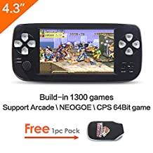 4.3 inch screen 64Bit Handheld Video Game Console Portable Game Console build in 1300 no-repeat game for NEOGOE\CPS\GBA\GBC\GB\SFC\FC\MD\GG\SMS MP3/4 (Black)