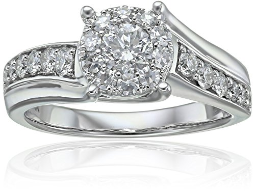 Composite Diamond in 14k White Engagement Ring (1cttw, H I Color, I1 Clarity), Size 7