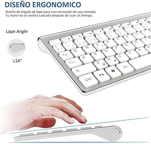 Ibera Teclado y Raton Inalámbrico, 2.4G USB QWERTY Español Teclado Inalambrico Ergonómico Numerico Teclado Inalambrico Raton Teclado PC Tecla para ...