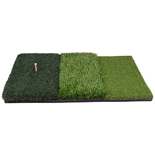 HOMGARDEN Golf Hitting Mat (25'' x 16'') Three Turf Types with Rubber Tee for Driving, Chipping and Putting Golf Practice and Training by HOMGARDEN (Image #7)