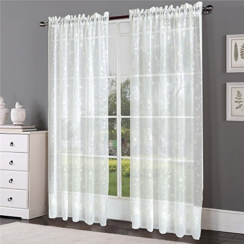 Comforhome 52-Inch-by-108-Inch Embroidery Sheer Curtain with Rod Pocket Drape, 1-Panel, White Blossom Season-1