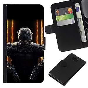 YiPhone /// Tirón de la caja Cartera de cuero con ranuras para tarjetas - SWAT Doble arma - Samsung ALPHA G850