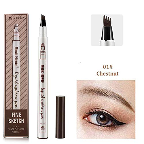 Music Flower Liquid Tattoo Eyebrow Pen With Four Tips Brow Pen, Long-lasting Waterproof Brow Gel for Eyes ()