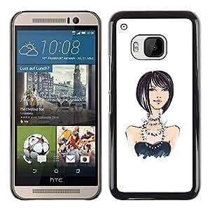 Caucho caso de Shell duro de la cubierta de accesorios de protección BY RAYDREAMMM - HTC One M9 - Design Fashion White Black