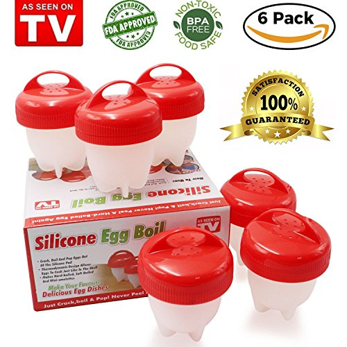 - Egg Cooker-Silicone Egglettes Egg Poachers for hard boiled eggs,Egg Cups AS SEEN ON TV,Hard&Soft Maker,Boil Eggs Without the Egg Shell (Pack of 6)
