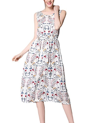 Huixin Damen Strandkleid mit Aufdruck Blumen Vintage Boho Casual Midi  Kleider Elegant Festlich Bekleidung Dresses Ärmellos fcbbe7feb8
