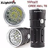 TOPUNDER XLightFire 25000LM 10 x CREE XM-L T6 LED Hunting Flashlight 4 x 18650 Lamp Torch
