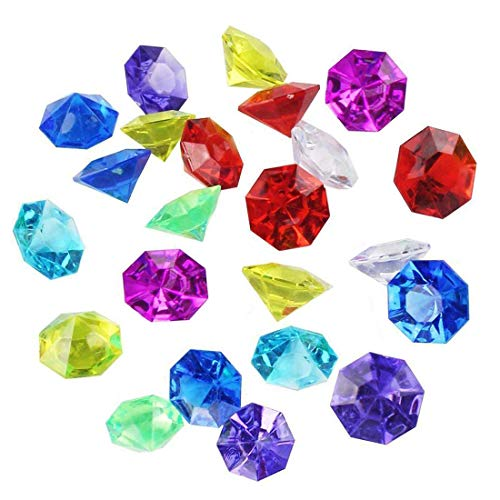 R.FLOWER 36 Carat Colorful Acrylic Diamond Crystals Gems Jewels for Table Scatters, Vase Fillers, Event, Wedding, Party, Birthday Decoration Pirate Treasure, Pack of 40