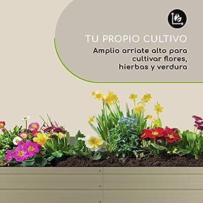 Blumfeldt High Grow Straight bancal - Macetero , Flores, Hierbas y Verduras , 180 x 60 x 90 cm , Ampliable , 970 litros , Acero , Resiste el Mal ...