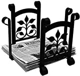 Iron Leaf Fan Magazine Storage-Newspaper Rack - Heavy Duty Metal Magazine Rack, Newspaper Holder, Magazine Holder, Fireplace Accessories