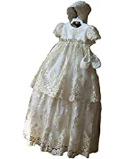 Newdeve Baby Girls Long Baptism Dress Christening Gown With Bonnet