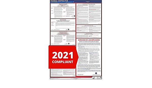 Combines 8 Commonly Required Law Postings Federal Contractor /& Subcontractor Labor Law Poster J 26 x 40 English Laminated Poster for Workplace Compliance Keller /& Associates J