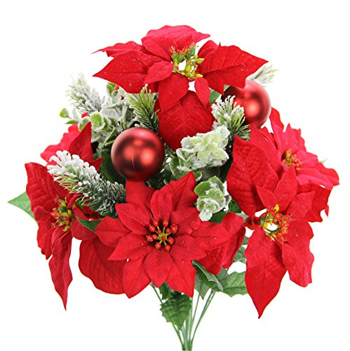 Bush Ornament (Admired By Nature GPB7801-RED 12 Stems Faux Velvet Poinsettia Christmas Bush, Ornament RD)