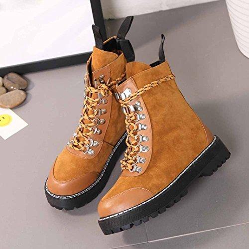 OverDose Damen Herbst Winter Casual Flat Heel Stiefel Plattform Thick Lace-up Stiefel Frauen Flache Freizeit Schuhe Martin Stiefel Braun