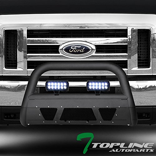 Topline Autopart Matte Black Studded Mesh Bull Bar Brush Push Front Bumper Grill Grille Guard With Skid Plate + 36W Cree LED Fog Lights For 08-14 Ford Econoline E150/E250/E350 Superduty Van
