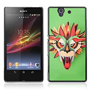 Designer Depo Hard Protection Case for Sony Xperia Z L36H / Colorful Dragon Mask