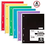 Mead Spiral Notebooks, 1 Subject, Wide Ruled Paper, 70 Sheets, 10-1/2 x 7-1/2 inches, Colors Selected For You, 4 Pack (72873)