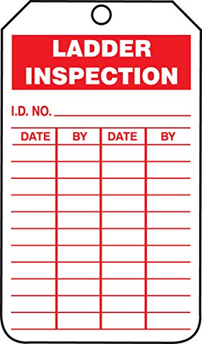 "Accuform TRS248CTM PF-Cardstock Inspection & Status Record Tag, Legend""Ladder Inspection"", 5.75"" Length x 3.25"" Width x 0.010"" Thickness, Red on White (Pack of 5)"