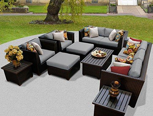 TK Classics BARBADOS-12d-GREY Barbados 12 Piece Outdoor Wicker Patio Furniture Set, Grey from TK Classics