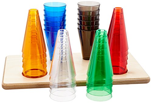 Rolyan Stacking Cones and Wooden Base, Set of 30 Activity Cones, Acrylic Colors