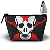 vacume gun - Skull And Crossed Guns Makeup Bag Large Trapezoidal Storage Travel Bag Wash Cosmetic Pouch Pencil Holder Zipper Waterproof