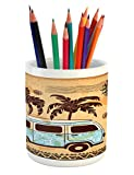 Lunarable Vintage Hawaii Pencil Pen Holder, Retro Trees Old Van with Abstract Sun Design Beach Surfing Board, Printed Ceramic Pencil Pen Holder for Desk Office Accessory, Orange Brown Sky Blue