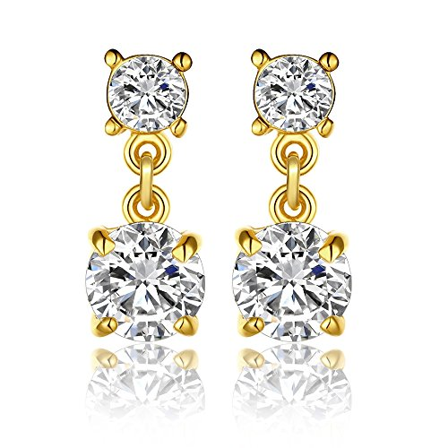 Love Direct Sparkling Zircon Decorated Dangle Earring for Women (Yellow Gold Plated) (Tin Man Nose)
