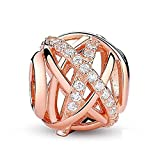 ABAOLA Openwork Charms with Clear CZ 925 Sterling Silver Galaxy Charm for European Bracelet (Rose gold plating)
