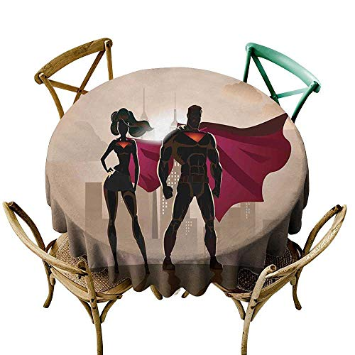 (cobeDecor Superhero Fabric Dust-Proof Table Cover Super Woman and Man Heroes in City Solving Crime Hot Couple in Costume D70 Beige Brown)