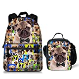 Cute Animals Pug Dog School Bag Lunch Bag for Teenagers Boys Girls Review