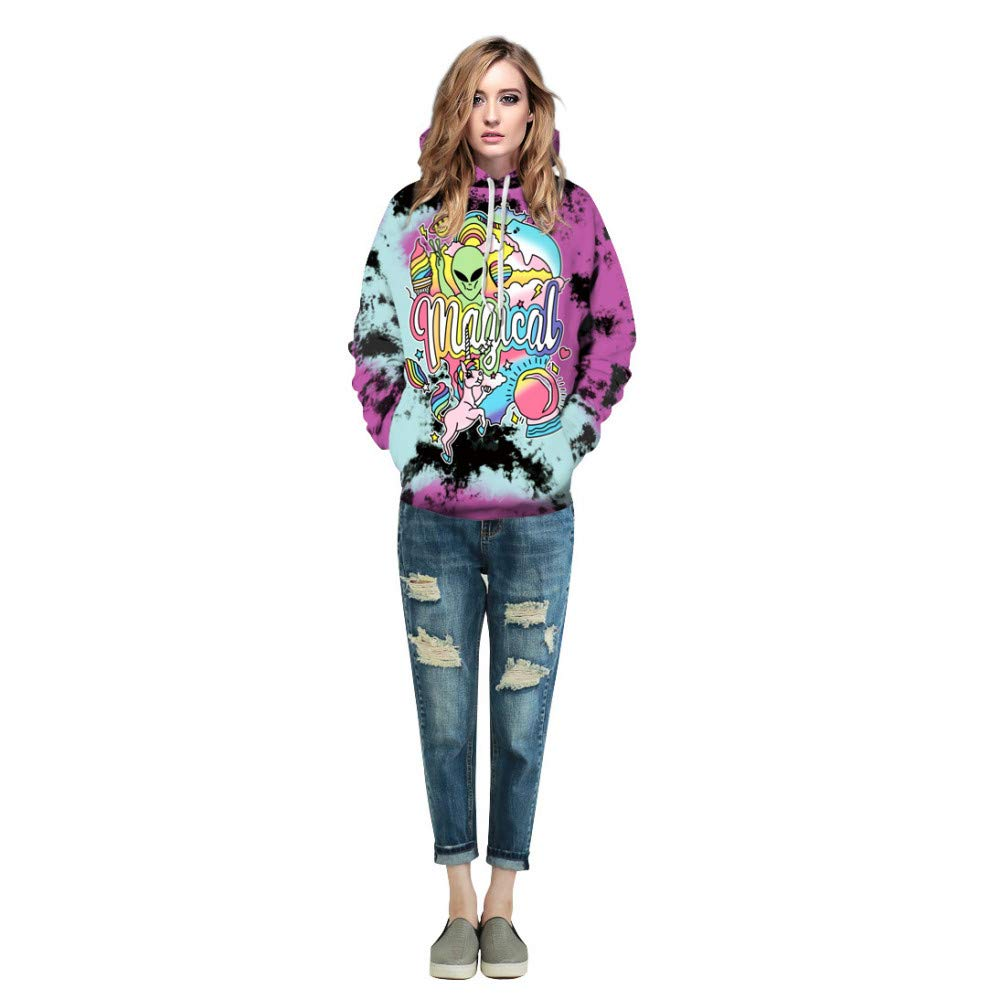 Amazon.com : CHAOHAO@ Ladies Hooded Hooded Sweater 3D Unicorn Digital Printing Baseball Uniform Halloween Hooded Sweater Large Size Lovers : Sports & ...