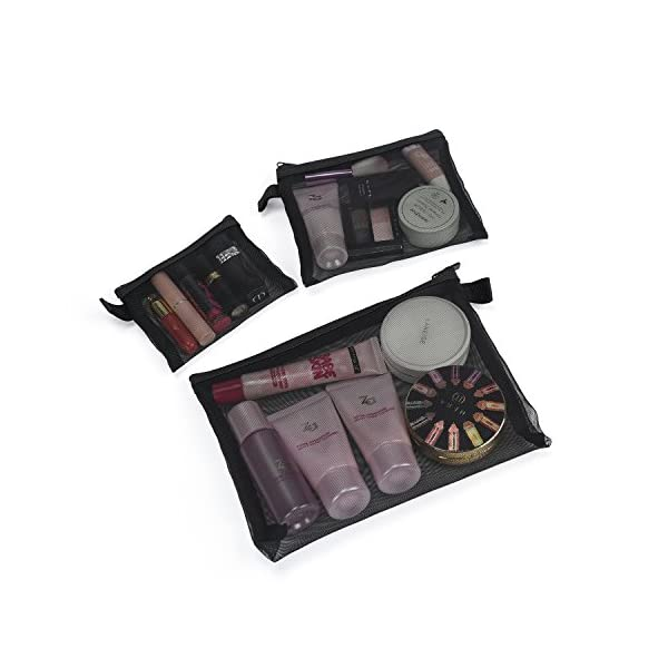 Patu Zipper Mesh Bags, Pack of 3 (S/M/L), Beauty Makeup Cosmetic Accessories Organizer, Travel Toiletry Kit Set Storage Pouch, Black