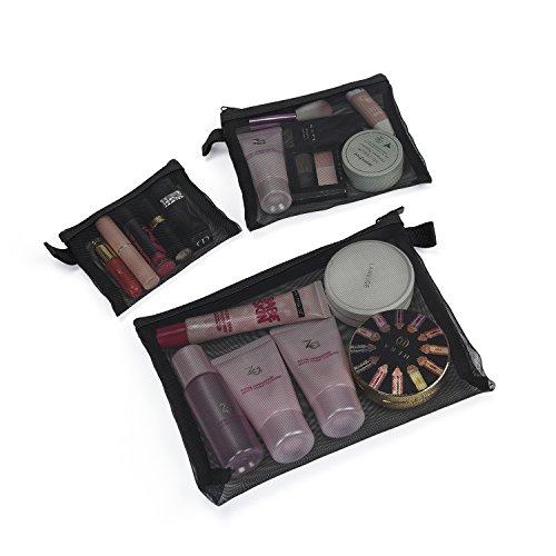 Patu Zipper Mesh Bags, Pack of 3 (S/M/L), Beauty Makeup Cosmetic Accessories Organizer, Travel Toiletry Kit Set Storage Pouch, Black