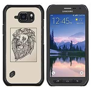 TECHCASE---Cubierta de la caja de protección para la piel dura ** Samsung Galaxy S6 Active G890A ** --dibujo pintura del arte artista viñeta león