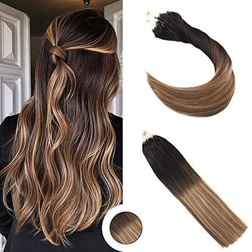 Ugeat 22Inch 50Stands Human Micro Loop Hair Extensions Off Black Ombre Brown And Caramel Blonde Remy Micro Human Hair Extensions Loop And Lock Hair Extensions ()
