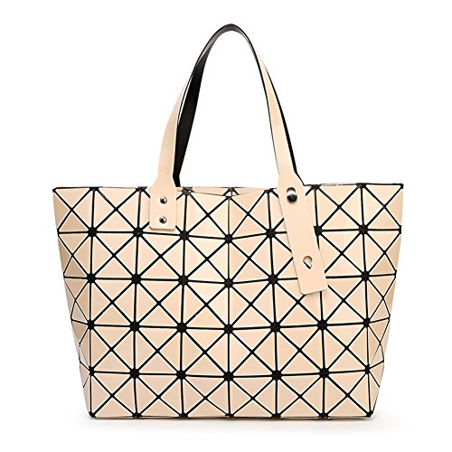Go Tour Women Rubik's cube geometry Tote Bag Summer Matte Frosted/Shiny PVC Satchel Beach Handbags (Beige-A) - Frosted Clear Totes