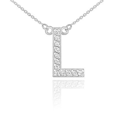 Amazon dainty 14k white gold diamond letter l initial pendant dainty 14k white gold diamond letter l initial pendant necklace 18quot aloadofball Gallery