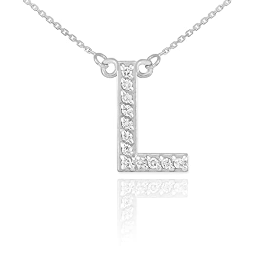 Amazon dainty 14k white gold diamond letter l initial pendant dainty 14k white gold diamond letter l initial pendant necklace 16quot mozeypictures Image collections