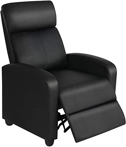 Yaheetech Home Theater Seating Leather Recliner Chair Modern Single Living Room Reclining Sofa with Pocket Spring