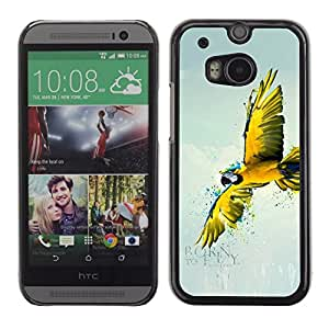 PC/Aluminum Funda Carcasa protectora para HTC One M8 Parrot Yellow Flying Art Rainforest Blue Sky / JUSTGO PHONE PROTECTOR