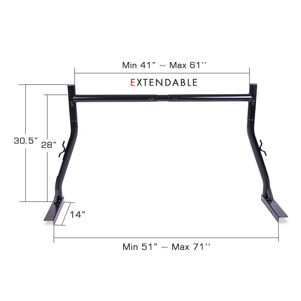 Non-Drilling C-Clamps Small Pick-up Truck Rack Ladder Lumper Utility 8 AA-Racks Model X34 Universal Truck Trailer Rack with