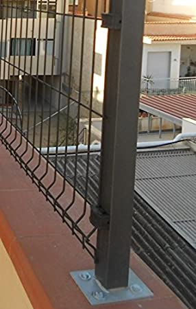 f/ür Zaunpfosten MEDIUM 5659 ITALFROM Halterung verzinkt f/ür Befestigung auf Terra f/ür Rohr Rohr Quadro 50 x 50 mm